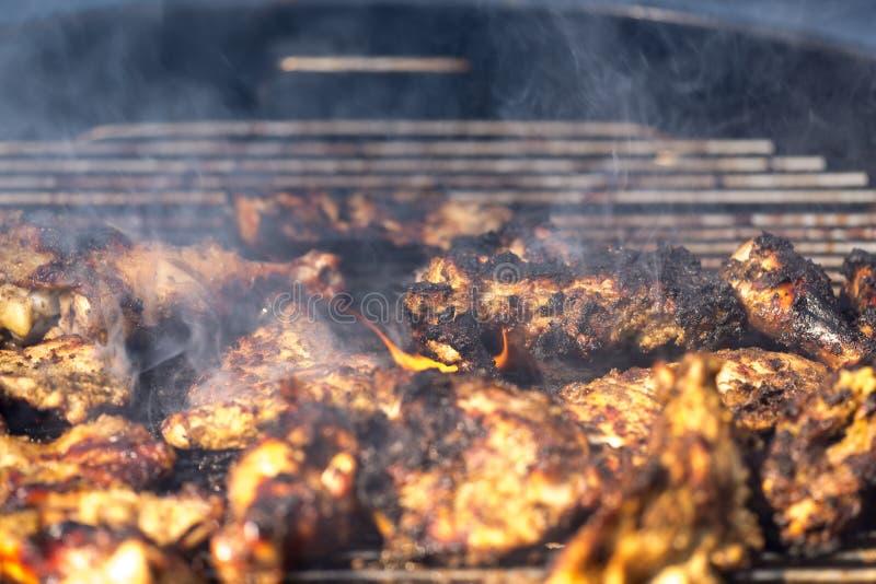 Πικάντικο ψημένο στη σχάρα κοτόπουλο τραντάγματος στοκ φωτογραφία
