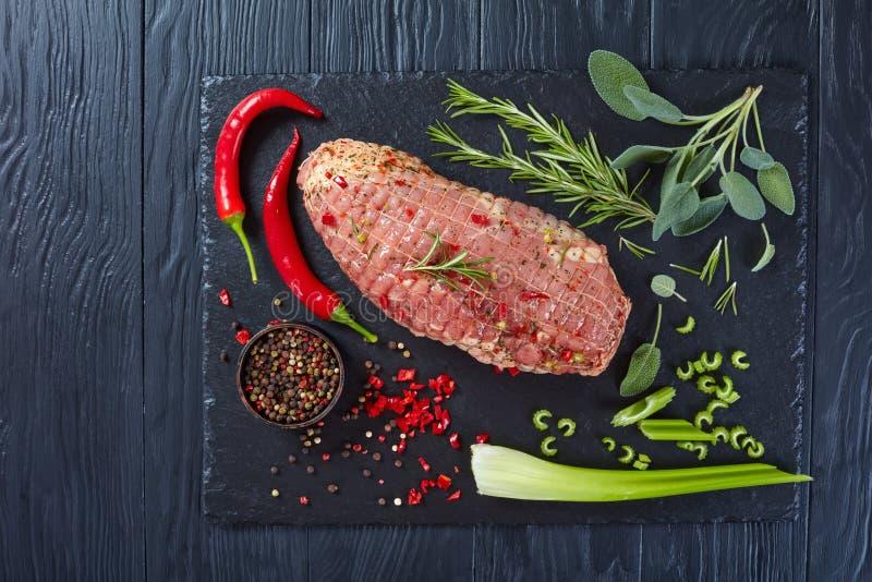 Πικάντικο roulade κρέατος χοιρινού κρέατος, επίπεδο βάζει στοκ φωτογραφίες