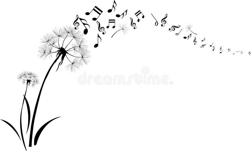 Πικραλίδες με τη μουσική σημειώσεων που πετούν στο άσπρο υπόβαθρο απεικόνιση αποθεμάτων