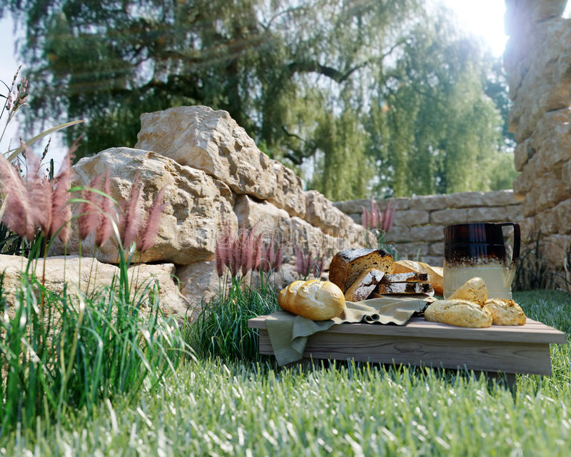 πικ-νίκ stilllife στο υπόβαθρο φύσης με τις αρχαίες καταστροφές, το ψωμί και τη στάμνα στοκ φωτογραφίες