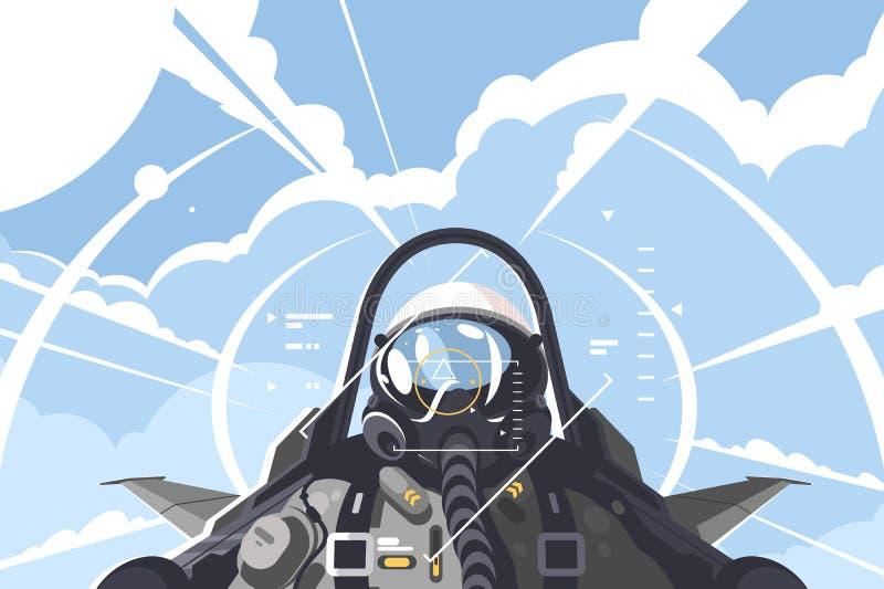 Πιλότος πολεμικού αεροσκάφους στο πιλοτήριο ελεύθερη απεικόνιση δικαιώματος