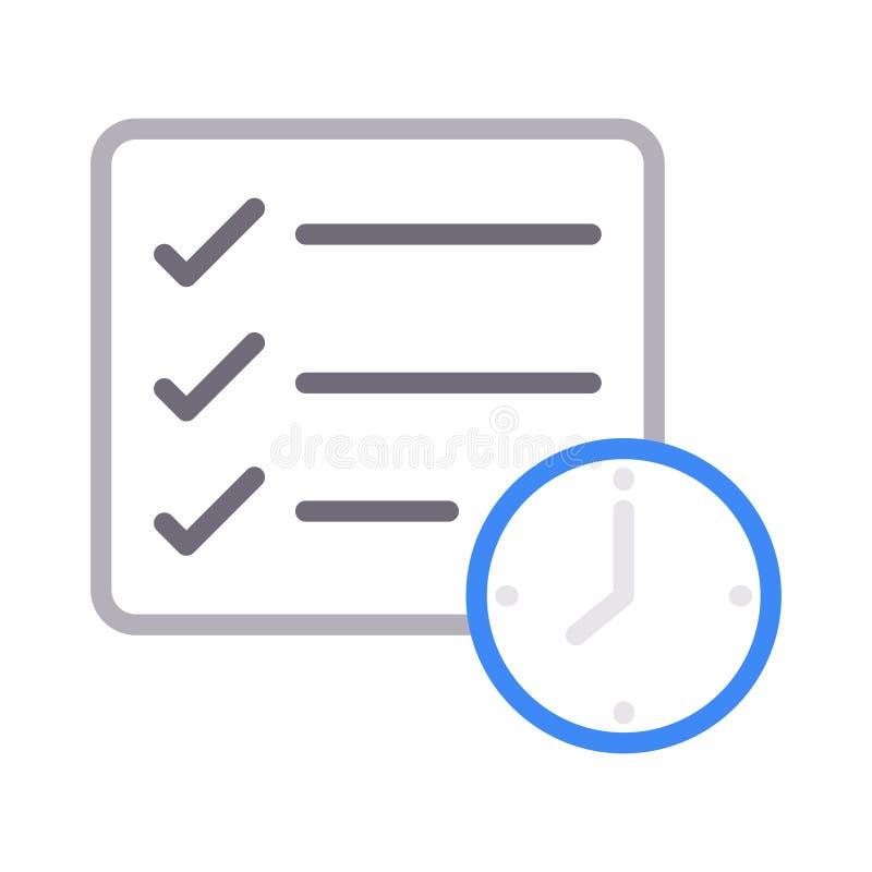 Πινάκων ελέγχου διανυσματικό εικονίδιο γραμμών χρώματος προθεσμίας λεπτό ελεύθερη απεικόνιση δικαιώματος