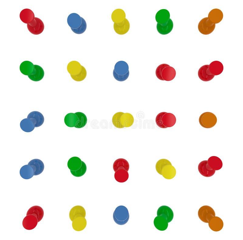 Πινέζες, σύνολο καρφιτσών ώθησης στα διαφορετικά χρώματα Τοπ όψη τρισδιάστατος απεικόνιση αποθεμάτων