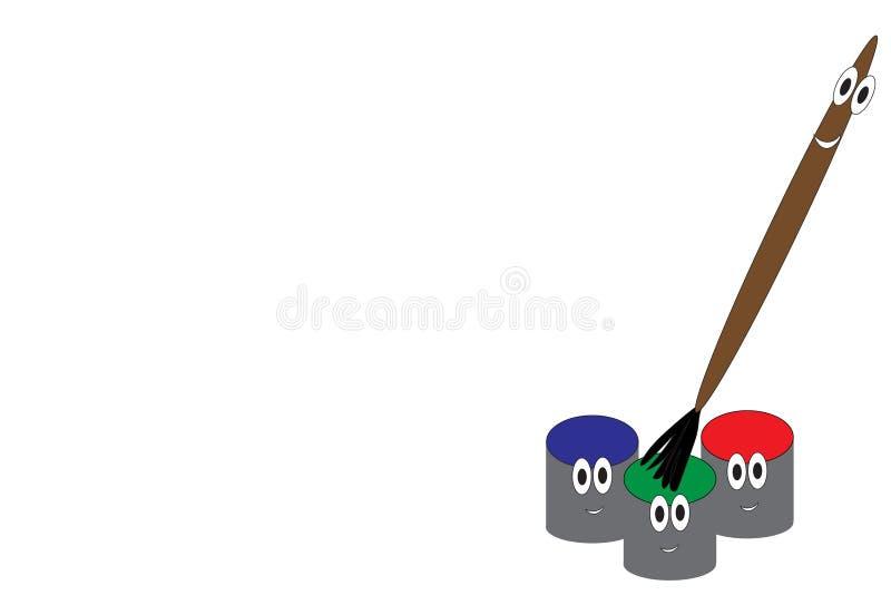 Πινέλο και κινούμενα σχέδια χρωμάτων ελεύθερη απεικόνιση δικαιώματος