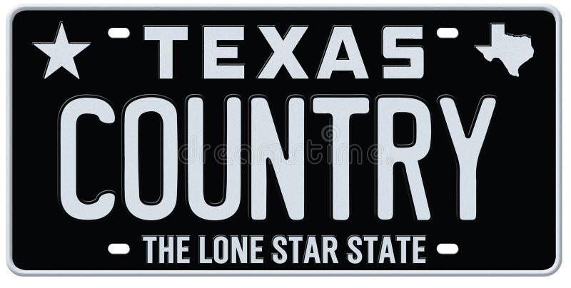 Πινακίδα αριθμού κυκλοφορίας country μουσικής του Τέξας απεικόνιση αποθεμάτων