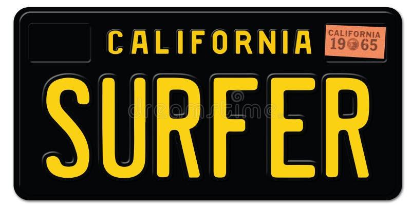 Πινακίδα αριθμού κυκλοφορίας Surfter Claifornia απεικόνιση αποθεμάτων