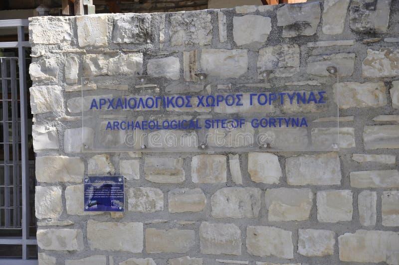 Πινακίδα περιοχών της Καρύταινας Archeological στο νησί της Κρήτης της Ελλάδας στοκ εικόνες