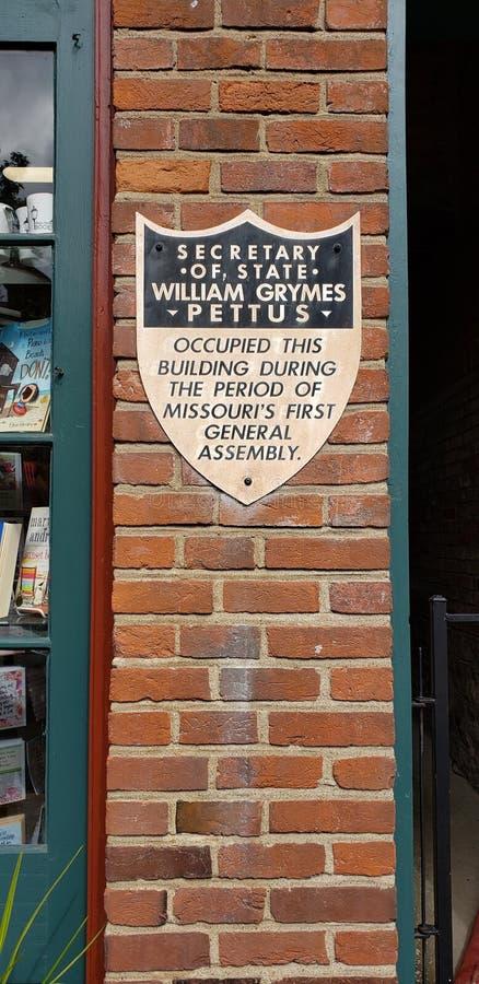 Πινακίδα του William Grymes Pettus στο ιστορικό στο κέντρο της πόλης ST Charles, Mo στοκ φωτογραφία