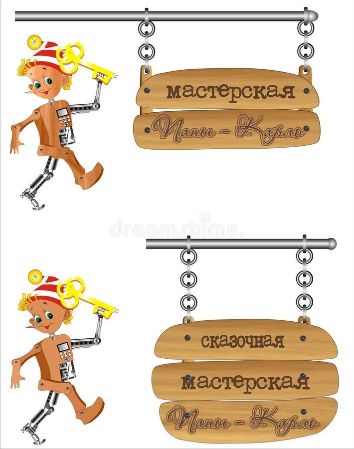 πινακίδα pinokio ατόμων byratino kiborg ξύλινη στοκ εικόνα με δικαίωμα ελεύθερης χρήσης