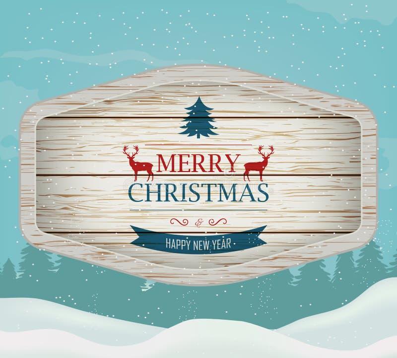 Πινακίδα με το χαιρετισμό Χριστουγέννων ενάντια σε ένα χειμερινό τοπίο προσθέστε ότι το κατώτατο σημείο μπορεί ευτυχής εύθυμος νέ ελεύθερη απεικόνιση δικαιώματος