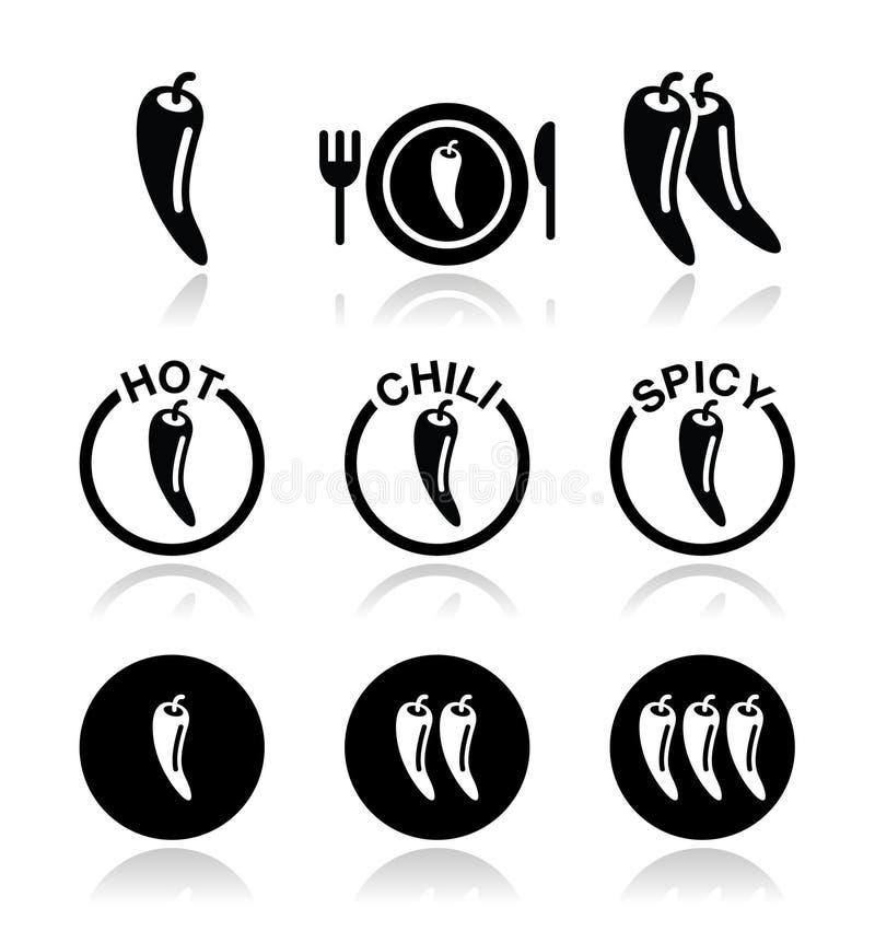 Πιπέρια τσίλι, καυτά και πικάντικα εικονίδια τροφίμων καθορισμένα ελεύθερη απεικόνιση δικαιώματος