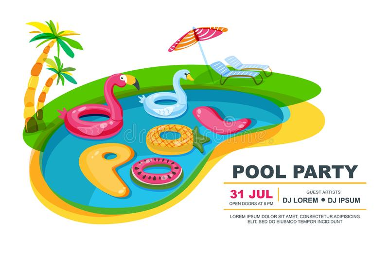 Πισίνα με τα επιπλέοντα παιχνίδια παιδιών επίσης corel σύρετε το διάνυσμα απεικόνισης Αφίσα κομμάτων παραλιών, ιπτάμενο, πρότυπο  απεικόνιση αποθεμάτων