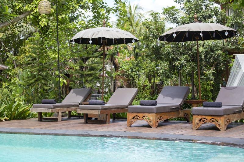 Πισίνα, μπλε νερό, πράσινα φύλλα των δέντρων και καρέκλες γεφυρών στον τροπικό κήπο Νησί Μπαλί, Ινδονησία στοκ φωτογραφία