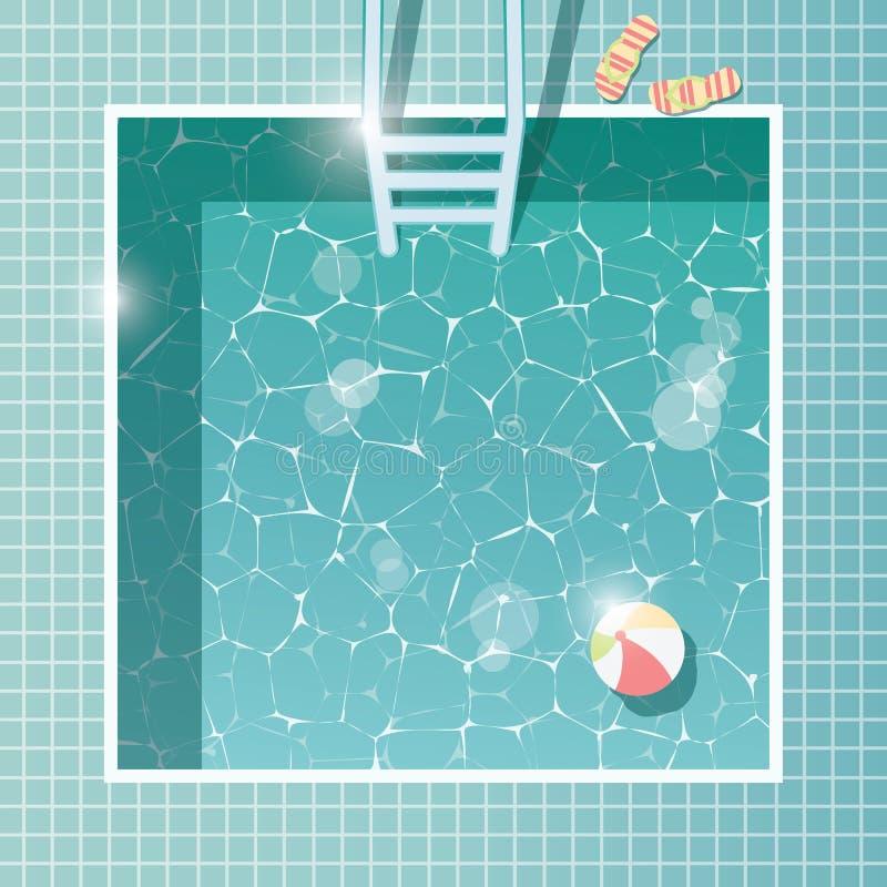 Πισίνα, τοπ άποψη, διακοπές καλοκαιρινών διακοπών, σαφές νερό απεικόνιση αποθεμάτων
