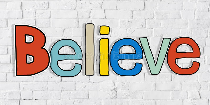 Πιστεψτε το Word και το τουβλότοιχο στο υπόβαθρο διανυσματική απεικόνιση
