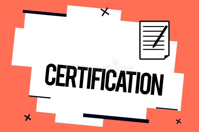 Πιστοποίηση γραψίματος κειμένων γραφής Έννοια που σημαίνει παρέχοντας σε κάποιο το επίσημο έγγραφο που βεβαιώνει σε μια θέση απεικόνιση αποθεμάτων