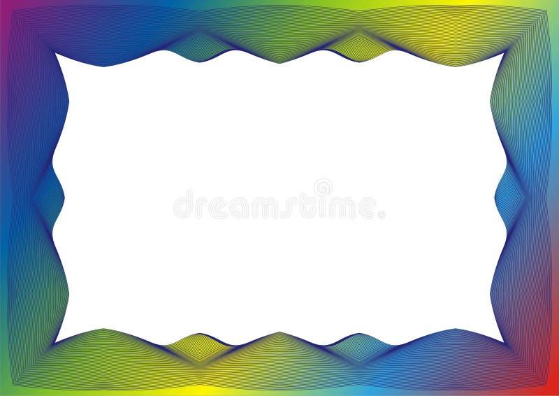 Πιστοποιητικό ή πρότυπο διπλωμάτων με το πλαίσιο ουράνιων τόξων διανυσματική απεικόνιση