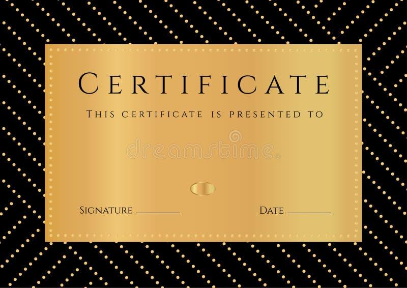 Πιστοποιητικό, δίπλωμα της ολοκλήρωσης με το μαύρο υπόβαθρο, χρυσό σχέδιο elemets, σύνορα, χρυσό πλαίσιο διανυσματική απεικόνιση