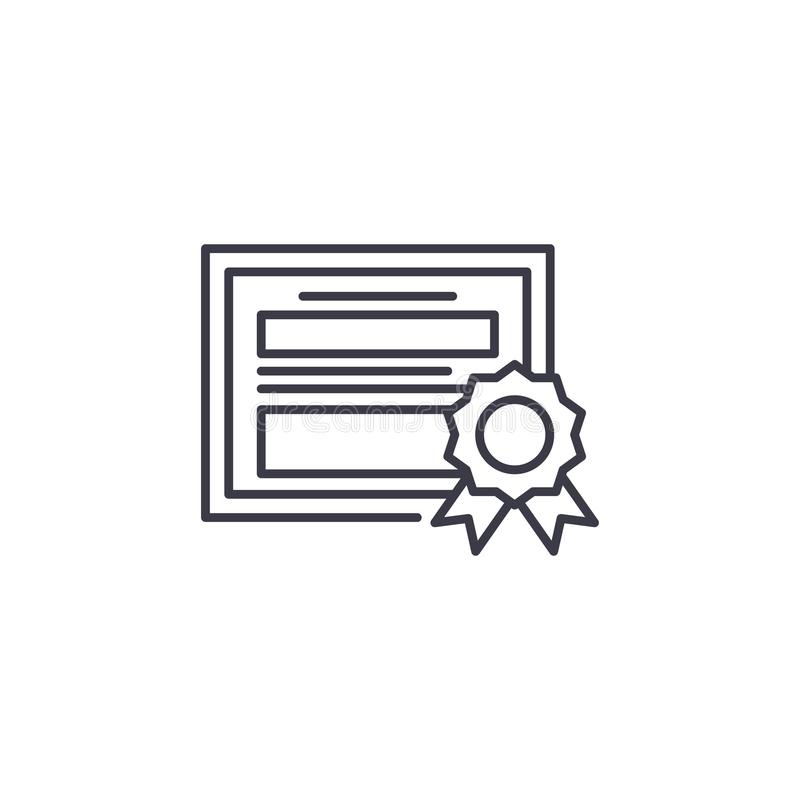 Πιστοποιητικό της γραμμικής έννοιας εικονιδίων αξίας Πιστοποιητικό του διανυσματικού σημαδιού γραμμών αξίας, σύμβολο, απεικόνιση διανυσματική απεικόνιση
