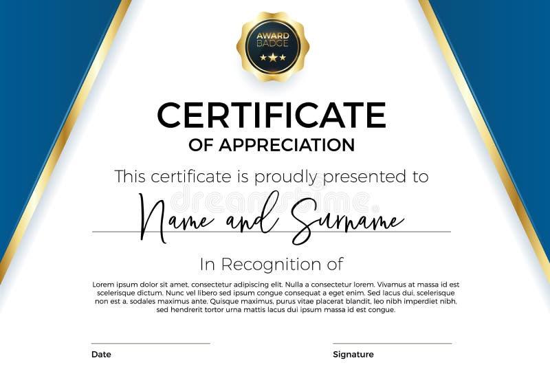Πιστοποιητικό της εκτίμησης ή του επιτεύγματος με το διακριτικό βραβείων Διανυσματικό πρότυπο ασφαλίστρου για τα βραβεία και τα δ απεικόνιση αποθεμάτων