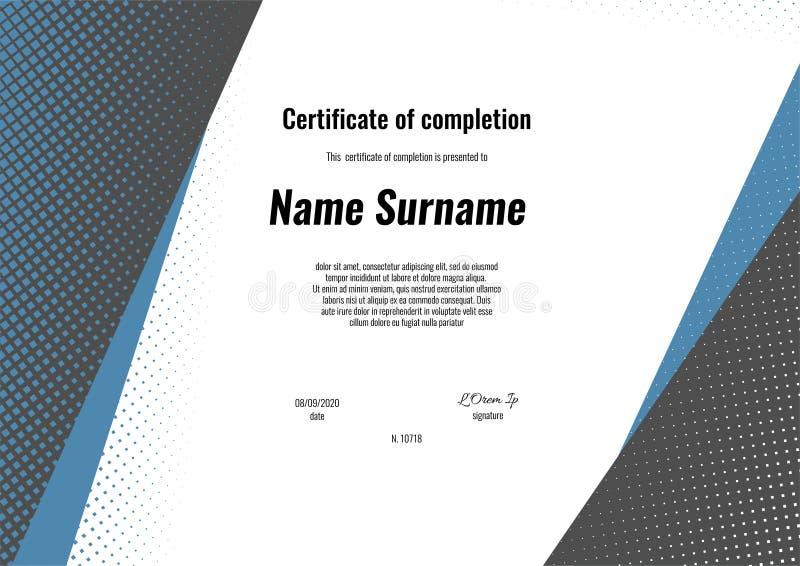 Πιστοποιητικό της ολοκλήρωσης - εκτίμηση, επίτευγμα, βαθμολόγηση, δίπλωμα ή βραβείο με το τετραγωνικό αναδρομικό υπόβαθρο σύσταση διανυσματική απεικόνιση