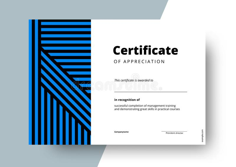 Πιστοποιητικό του σχεδίου προτύπων εκτίμησης Κομψό σχεδιάγραμμα επιχειρησιακών διπλωμάτων για τη βαθμολόγηση κατάρτισης ή την ολο διανυσματική απεικόνιση