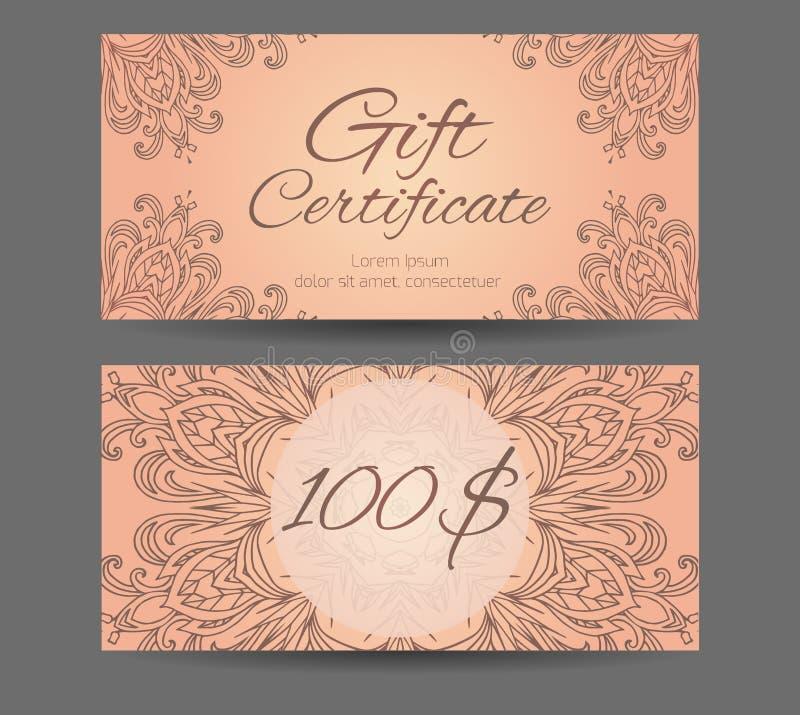 Πιστοποιητικό δώρων προτύπων για το στούντιο γιόγκας, κέντρο SPA, μασάζ διανυσματική απεικόνιση