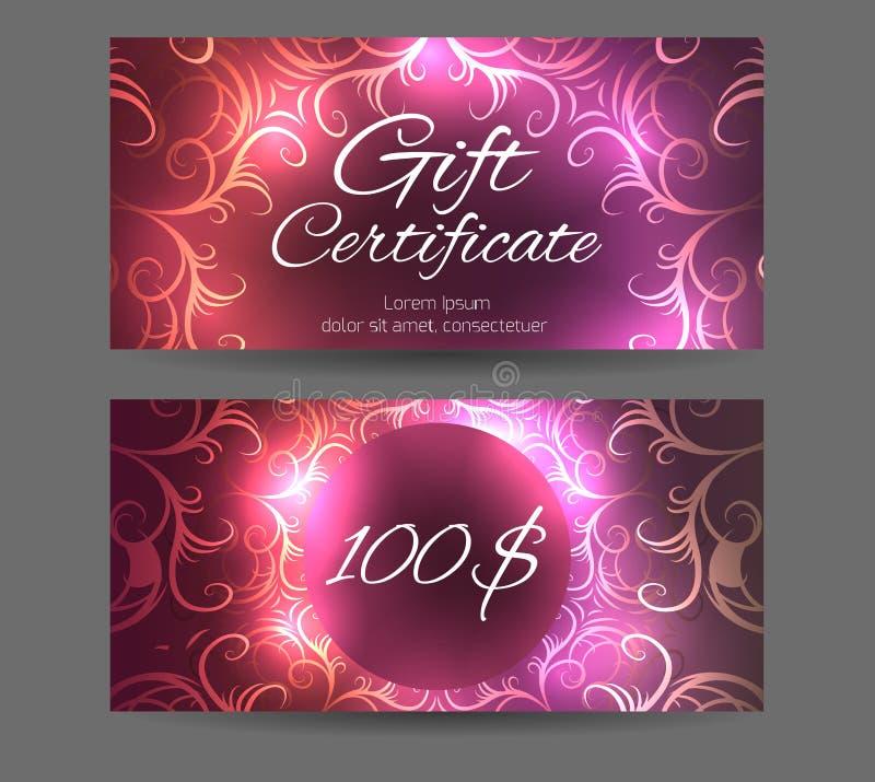 Πιστοποιητικό δώρων προτύπων για το στούντιο γιόγκας, κέντρο SPA διανυσματική απεικόνιση