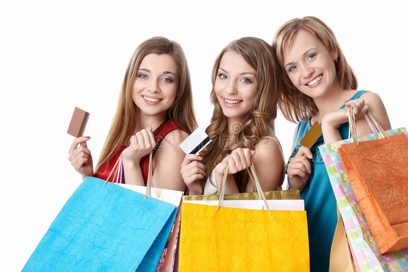 πιστωτικά κορίτσια καρτών στοκ εικόνα
