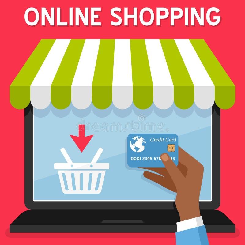 Πιστωτική κάρτα αγορών lap-top σε απευθείας σύνδεση διανυσματική απεικόνιση