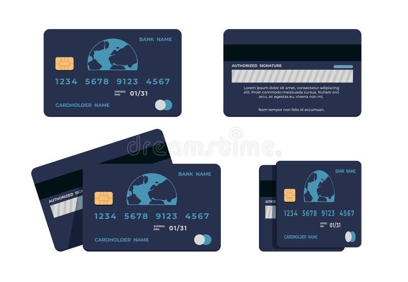 Πιστωτική κάρτα Επίπεδη εικόνα της κάρτας ATM με αριθμούς και όνομα κατόχου κάρτας, εμπρόσθια και οπίσθια όψη Έννοια του διανύσμα ελεύθερη απεικόνιση δικαιώματος
