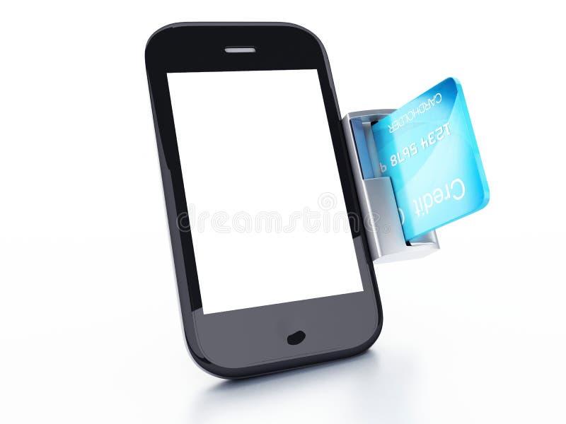 Πιστωτική κάρτα και κινητό τηλέφωνο Σε απευθείας σύνδεση conce πληρωμής ελεύθερη απεικόνιση δικαιώματος