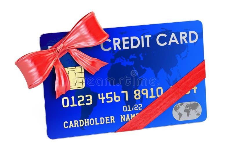 Πιστωτική κάρτα με την κινηματογράφηση σε πρώτο πλάνο τόξων και κορδελλών, έννοια δώρων τρισδιάστατος δώστε ελεύθερη απεικόνιση δικαιώματος