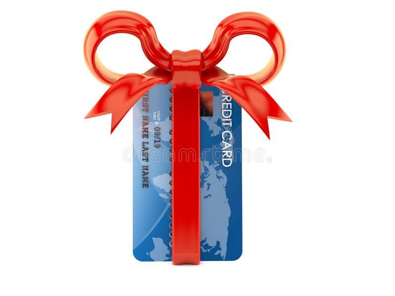 Πιστωτική κάρτα με την κόκκινη κορδέλλα απεικόνιση αποθεμάτων