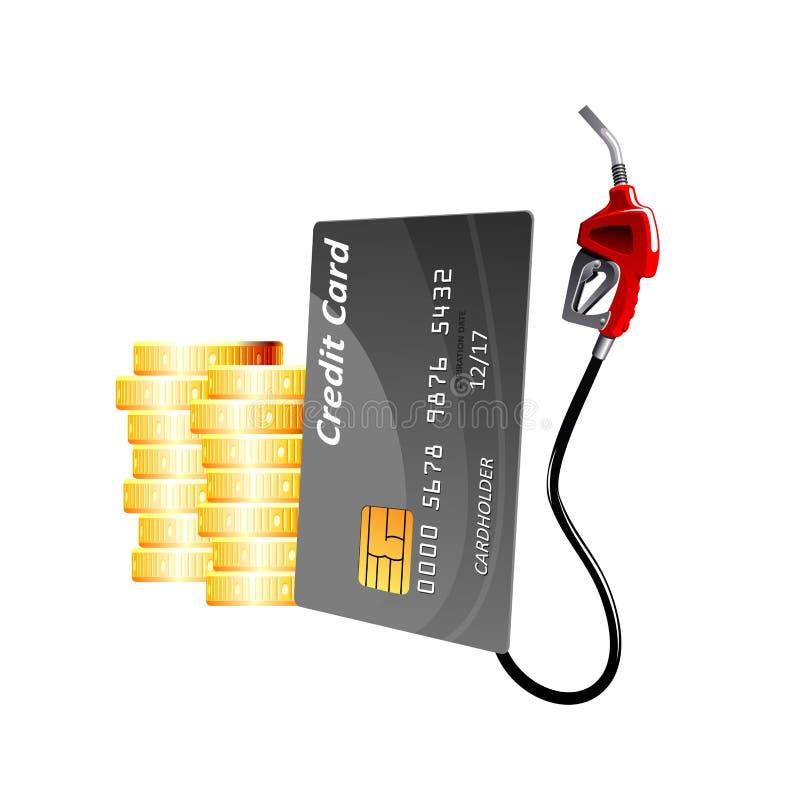 Πιστωτική κάρτα με το ακροφύσιο και τα νομίσματα αντλιών αερίου διανυσματική απεικόνιση