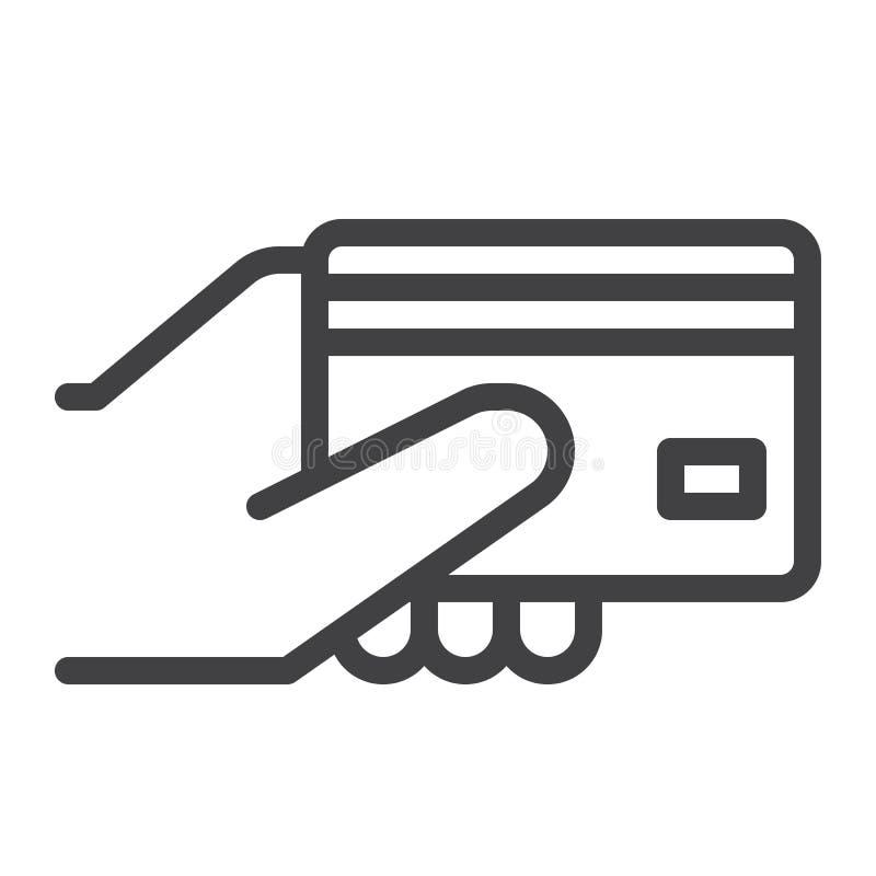 Πιστωτική κάρτα σε ένα εικονίδιο γραμμών χεριών απεικόνιση αποθεμάτων