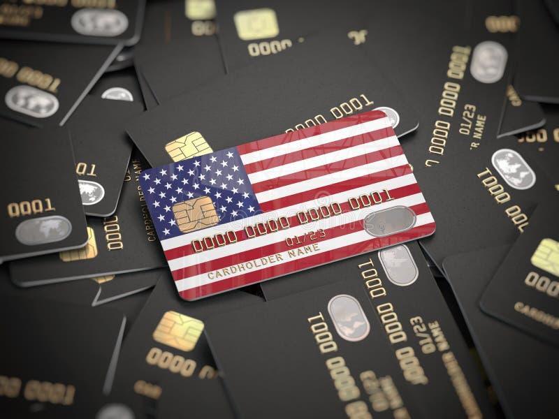 Πιστωτική κάρτα της αμερικανικής τράπεζας στο σωρό άλλων διαφορετικών μαύρων καρτών Άνοιγμα ενός τραπεζικού λογαριασμού στην τράπ απεικόνιση αποθεμάτων