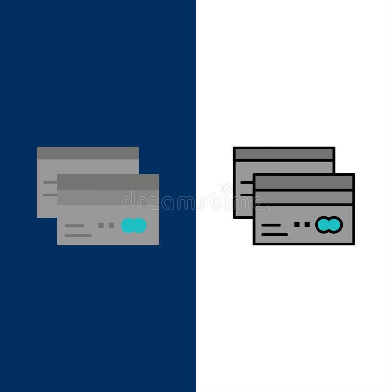 Πιστωτική κάρτα, τραπεζικές εργασίες, κάρτα, κάρτες, πίστωση, χρηματοδότηση, εικονίδια χρημάτων Επίπεδος και γραμμή γέμισε το καθ διανυσματική απεικόνιση
