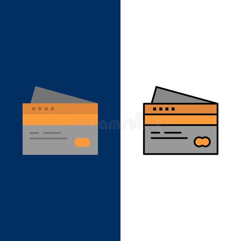 Πιστωτική κάρτα, τραπεζικές εργασίες, κάρτα, κάρτες, πίστωση, χρηματοδότηση, χρήματα, εικονίδια αγορών Επίπεδος και γραμμή γέμισε διανυσματική απεικόνιση