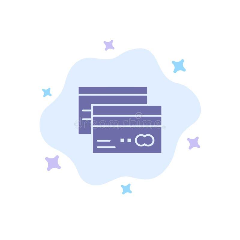Πιστωτική κάρτα, τραπεζικές εργασίες, κάρτα, κάρτες, πίστωση, χρηματοδότηση, μπλε εικονίδιο χρημάτων στο αφηρημένο υπόβαθρο σύννε απεικόνιση αποθεμάτων