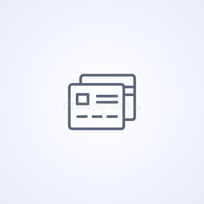Πιστωτική κάρτα, τραπεζική κάρτα, διανυσματικό καλύτερο γκρίζο εικονίδιο γραμμών διανυσματική απεικόνιση