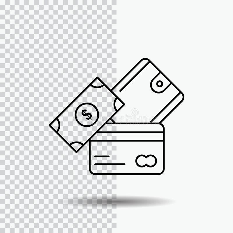 πιστωτική κάρτα, χρήματα, νόμισμα, δολάριο, εικονίδιο γραμμών πορτοφολιών στο διαφανές υπόβαθρο Μαύρη διανυσματική απεικόνιση εικ ελεύθερη απεικόνιση δικαιώματος