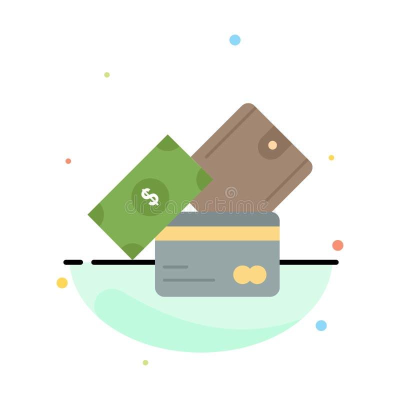 πιστωτική κάρτα, χρήματα, νόμισμα, δολάριο, επίπεδο διάνυσμα εικονιδίων χρώματος πορτοφολιών απεικόνιση αποθεμάτων