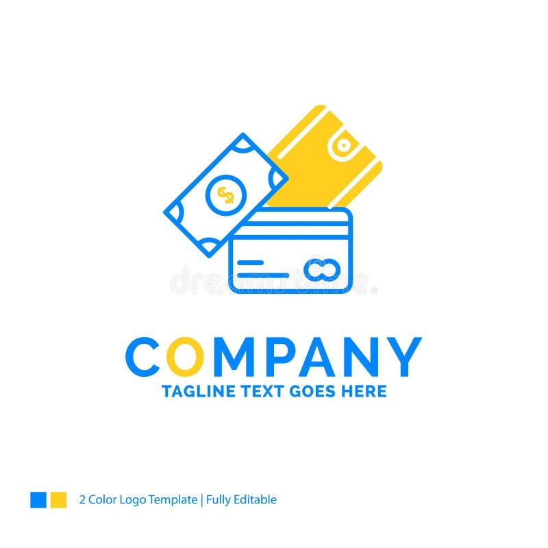 πιστωτική κάρτα, χρήματα, νόμισμα, δολάριο, μπλε κίτρινη επιχείρηση πορτοφολιών ελεύθερη απεικόνιση δικαιώματος