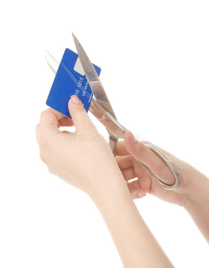 πιστωτική κοπή καρτών στοκ φωτογραφία