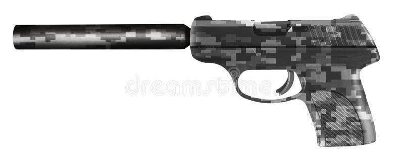 Πιστόλι με έναν ησυχαστήρα που απομονώνεται στο λευκό στοκ εικόνα