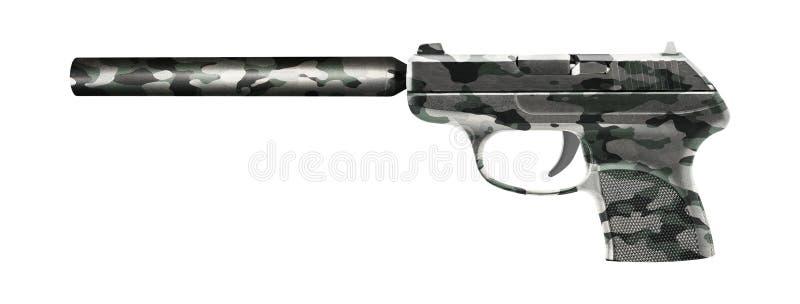 Πιστόλι με έναν ησυχαστήρα που απομονώνεται στο λευκό στοκ φωτογραφία με δικαίωμα ελεύθερης χρήσης
