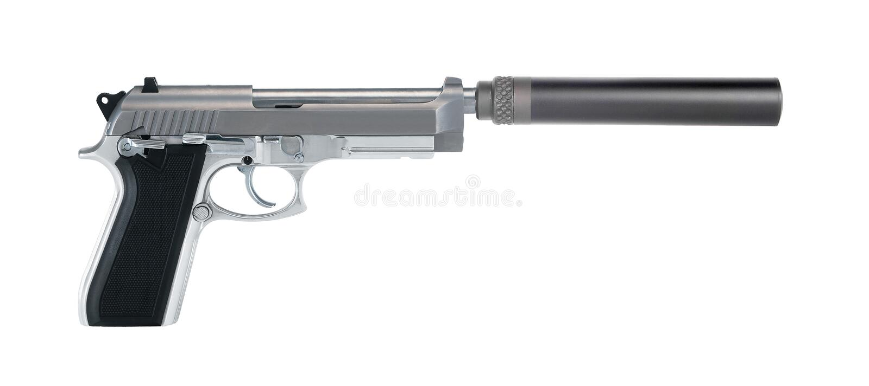 Πιστόλι με έναν ησυχαστήρα που απομονώνεται στοκ εικόνες με δικαίωμα ελεύθερης χρήσης