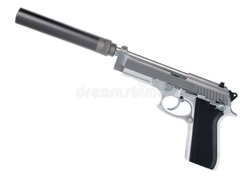 Πιστόλι με έναν ησυχαστήρα στοκ εικόνα