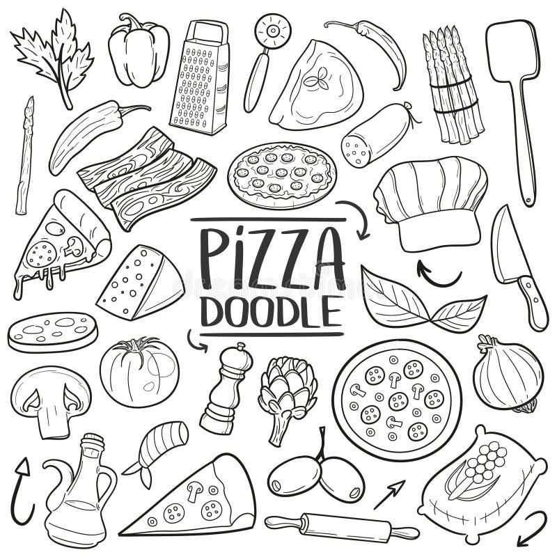 Πιτσών το ιταλικό χέρι εικονιδίων doodle τροφίμων παραδοσιακό σύρει το σύνολο διανυσματική απεικόνιση